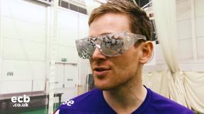 Eoin Morgan plays visually impaired cricket