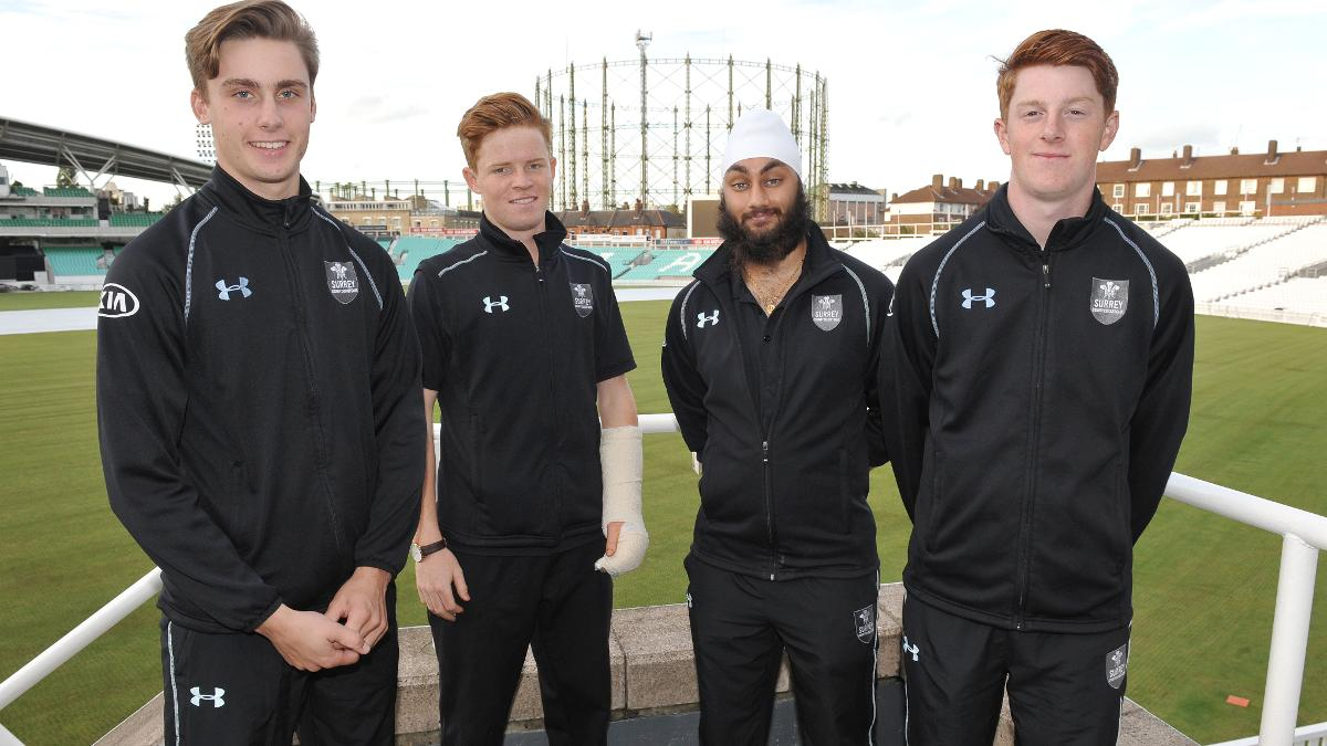 Will Jacks, Ollie Pope, Amar Virdi and Euan Woods