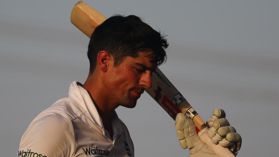 Alastair Cook walks off the ground following his dismissal for 263 in Abu Dhabi
