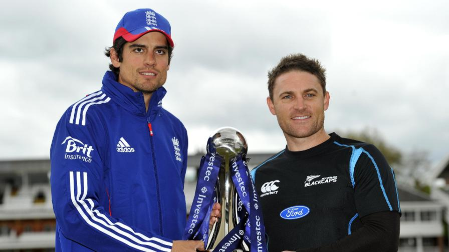 Alastair Cook and Brendon McCullum ahead of the 2013 Test Series