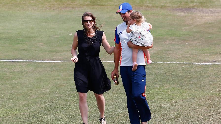 Alastair Cook with wife Alice Cook and daughter Elsie Cook on the pitch after winning the 1st Test between South Africa and England at Sahara Stadium Kingsmead