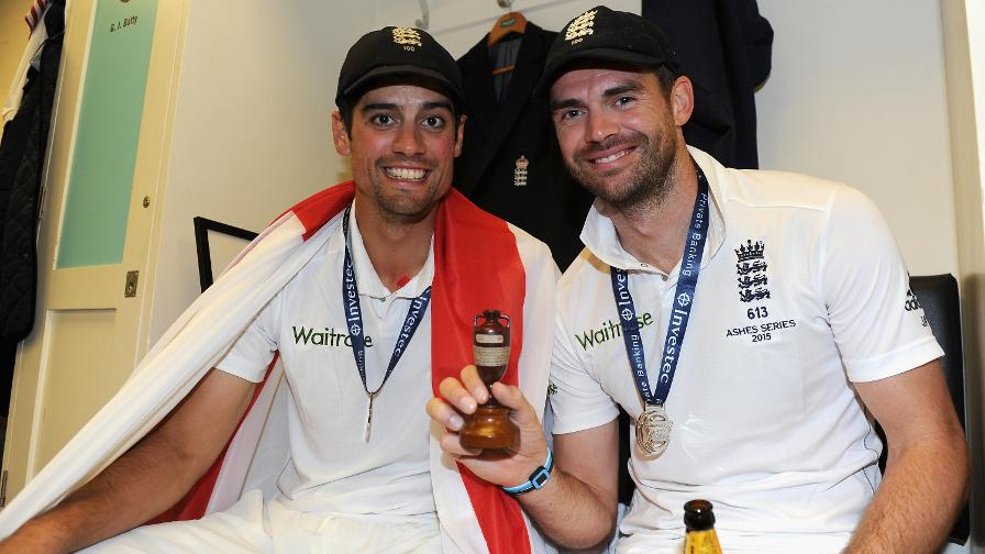 2015 Ashes Winners in the Oval dressing room in 2015