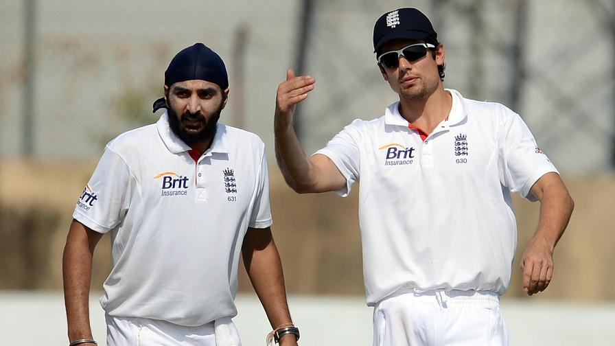 Setting the field with Monty Panesar on the 2012 tour of India