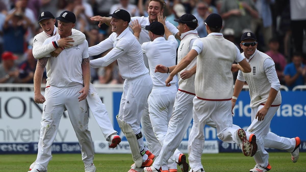 England celebrate as Ben Stokes takes one of the great Ashes catches