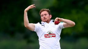 Liam Dawson in red ball action for Hampshire