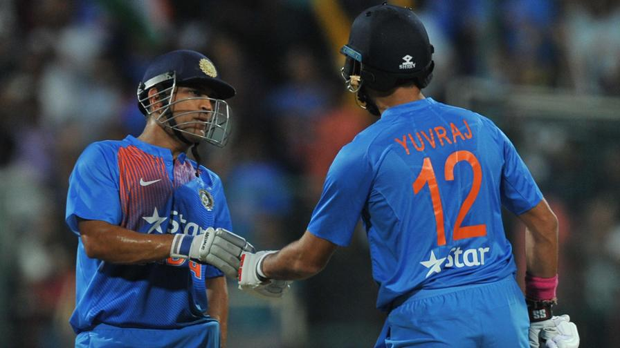Yuvraj Singh bludgeoned 27 from 10 balls as India closed on 202 for six