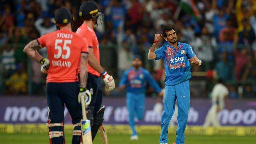 England lost eight wickets for as many runs with Yuzvendra Chahal finishing with stunning figures of 6-25