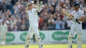 Joe Root celebrates reaching his maiden Test hundred