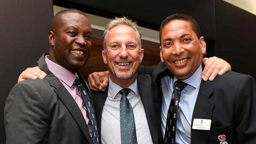 Left to right: Norman Cowans, Sir Ian Botham, Philip DeFreitas