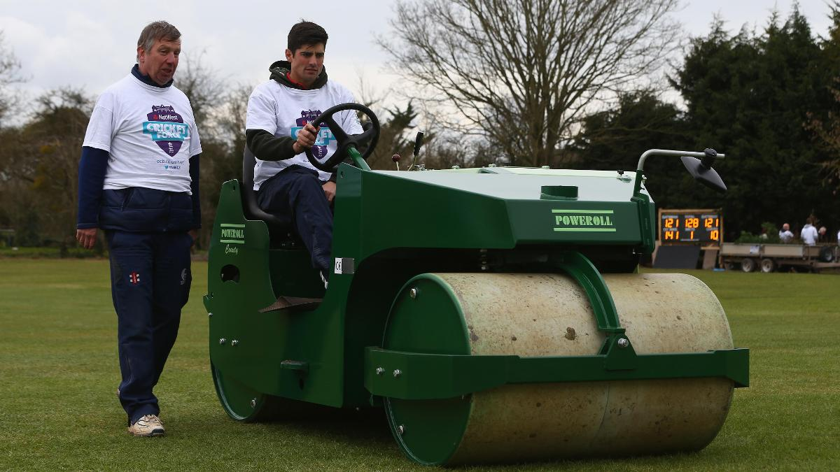 Alastair Cook helps out at Dymock in 2016