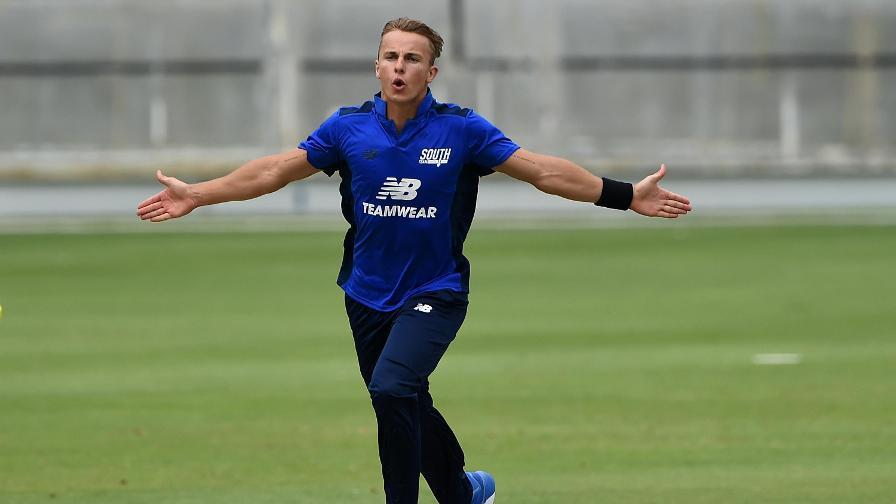 Tom Curran celebrates the wicket of Joe Clarke in Dubai