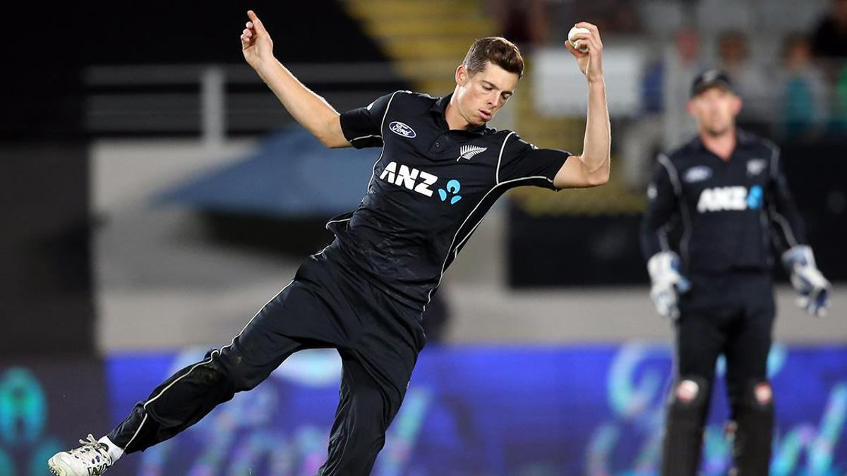 Worcestershire overseas signing Mitchell Santner fields off his own bowling for New Zealand