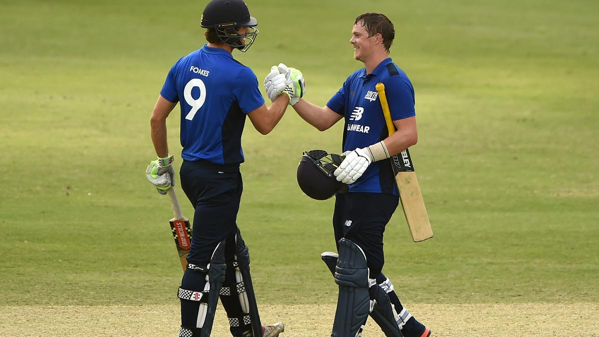 Sam Northeast celebrates his hundred for the South with Ben Foakes