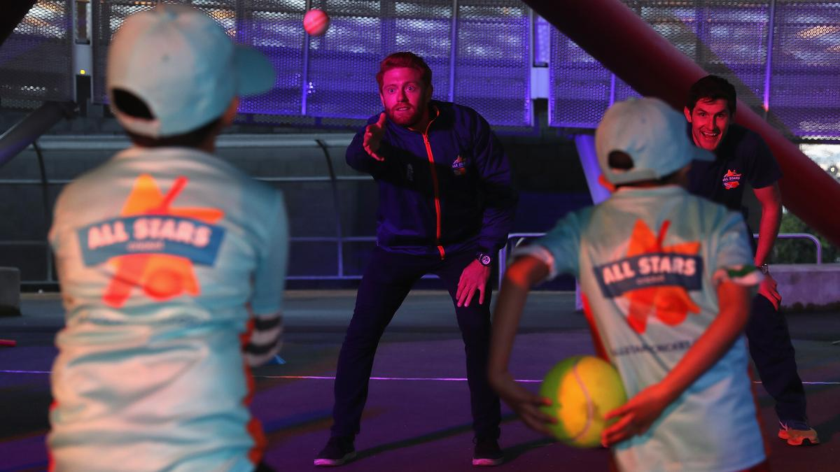 England and Yorkshire's Jonny Bairstow takes part in an All Stars Cricket session at the Queen Elizabeth Olympic Park