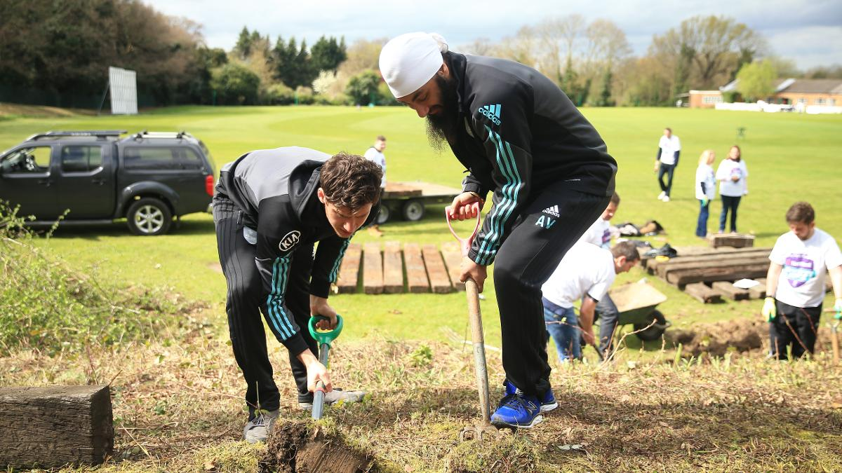 Surrey stars Zafar Ansari and Amar Virdi were among those lending a hand at NatWest CricketForce