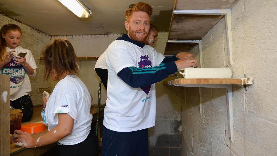 Yorkshire and England wicketkeeper-batsman Jonny Bairstow was in painting mode at Denby CC