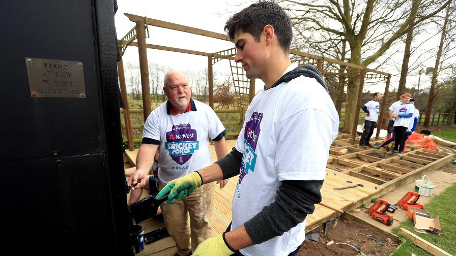 Former England captains Mike Gatt and Alastair Cook were on CricketForce duty at Copdock CC in Suffolk