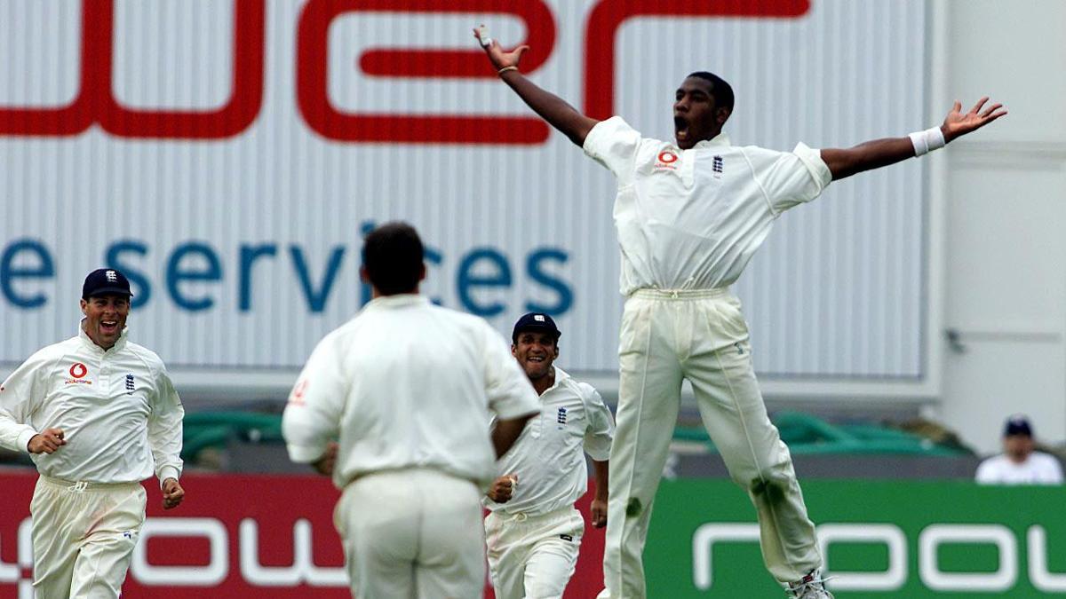 Alex Tudor celebrates a wicket