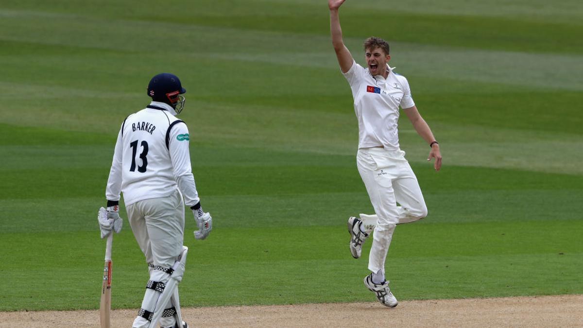 Ben Coad celebrates trapping Clarke LBW