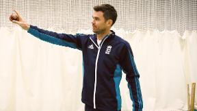 James Anderson on bowling target practice