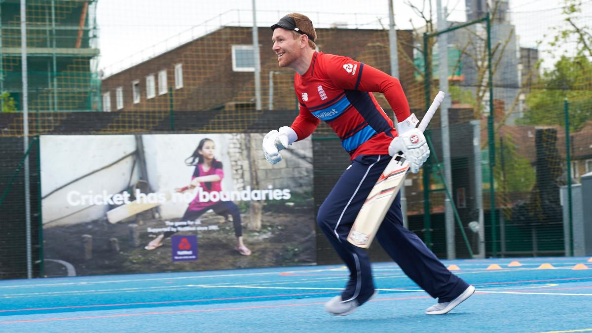 England white-ball captain Eoin Morgan was among those who tried visually impaired cricket at the launch
