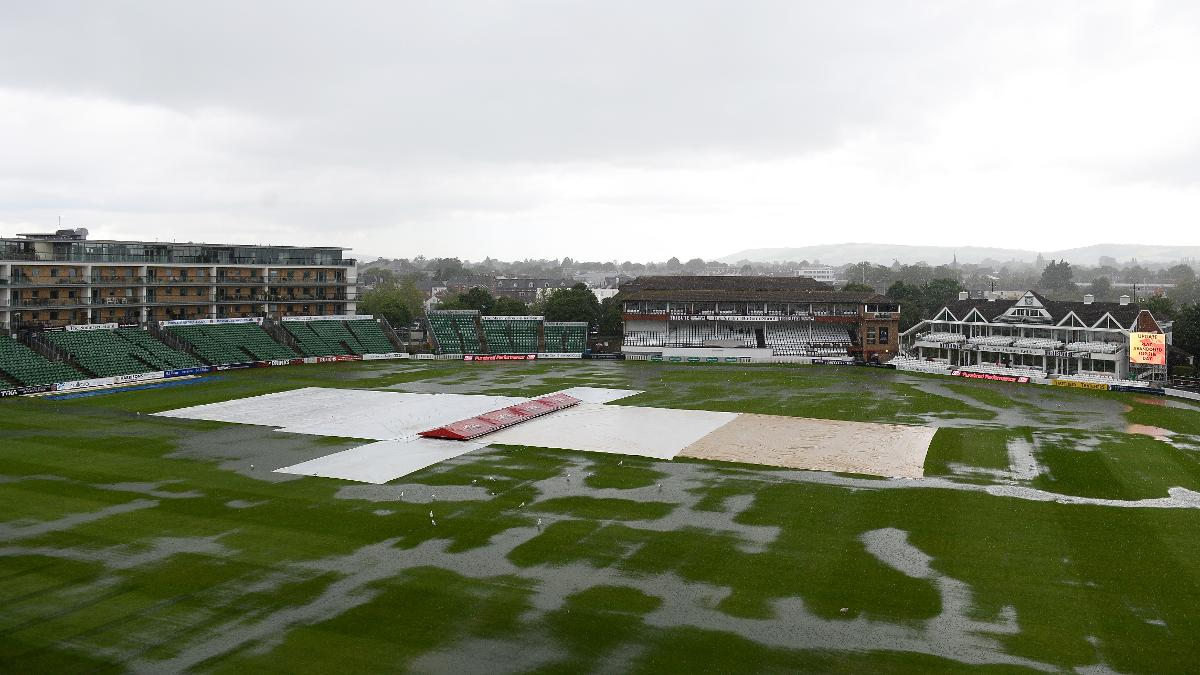 A sopping-wet County Ground at Taunton