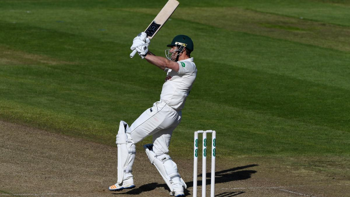 Chris Read smashes a six as his rear-guard batting alongside Brett Hutton took Notts to 448