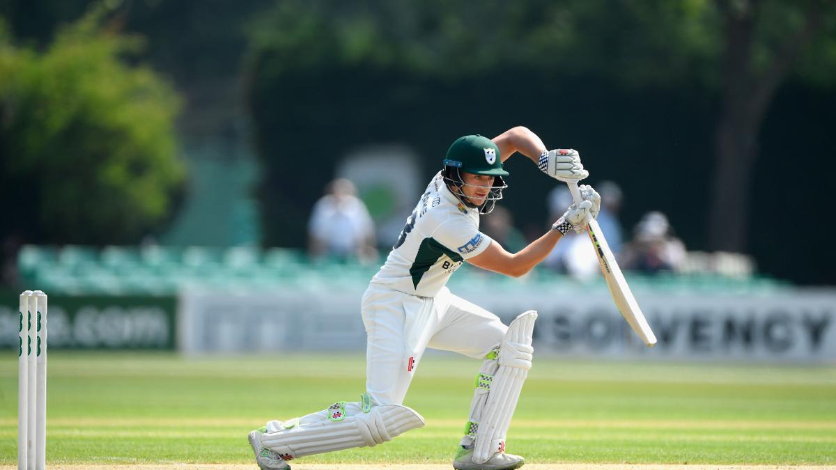 Joe Clarke hits the ball to the boundary on the way to scoring 142 runs as Worcestershire take a first innings lead of 76 against Kent