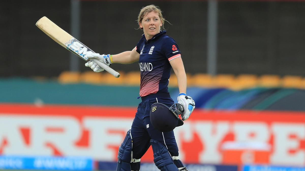 Heather Knight celebrates her first hundred in an England shirt