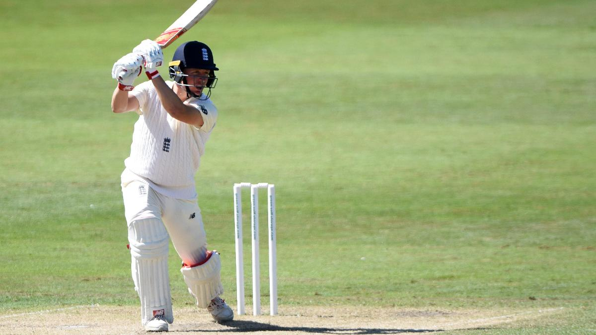 Gary Ballance drives through the covers during his half-century