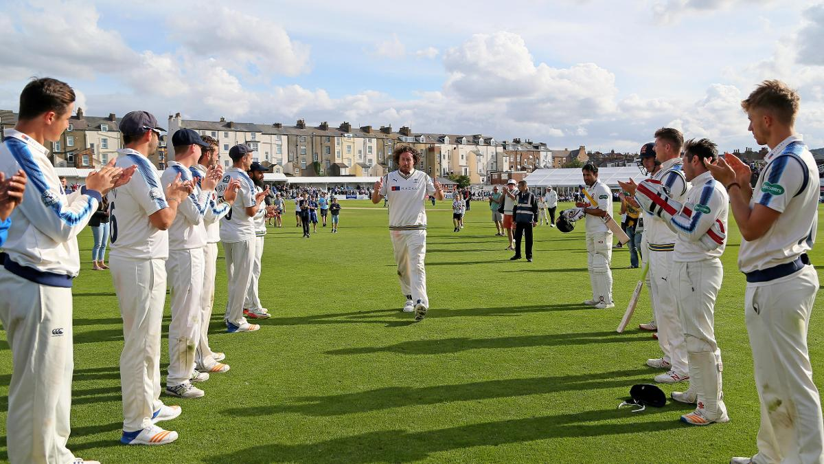 LEGEND - Ryan Sidebottom leaves the outfield at Scarborough for the last time