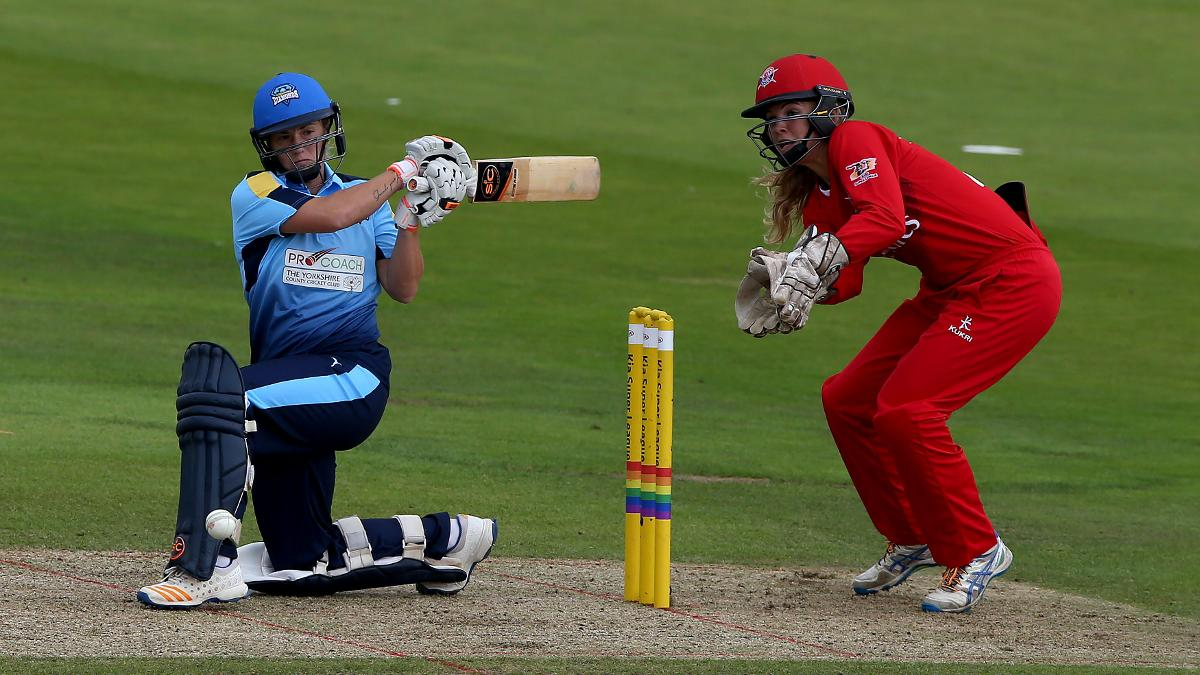 Katherine Brunt provided late impetus in the Yorkshire innings