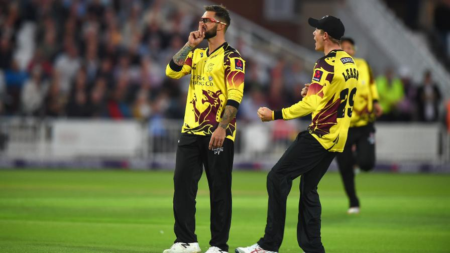 LET IT TRE-GO - Somerset fan favourite Peter Trego silences the crowd as he catches danger man Alex Hales