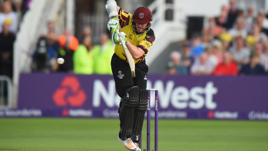 LIBERATION DAVY - Steve Davies moves through the gears to get Somerset's score going with some beautiful boundaries