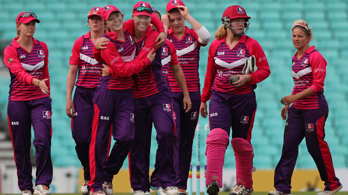 Loughborough Lightning players celebrate their win over Surrey Stars