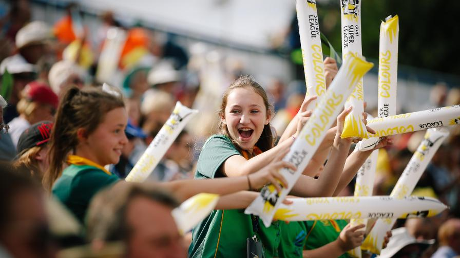 Fans cheer during the semi-final between Surrey Stars and Western Storm