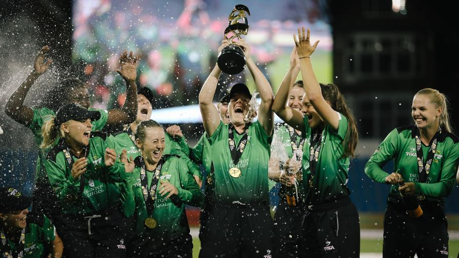 SUMMER OF SILVERWARE – Heather Knight lifts the Kia Super League trophy
