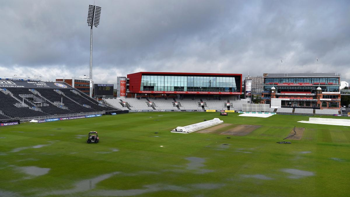 This was the scene on Friday morning following heavy overnight rain at Old Trafford