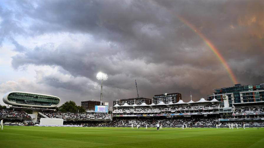 A rainbow emerges over Lord's during the Third Investec Test