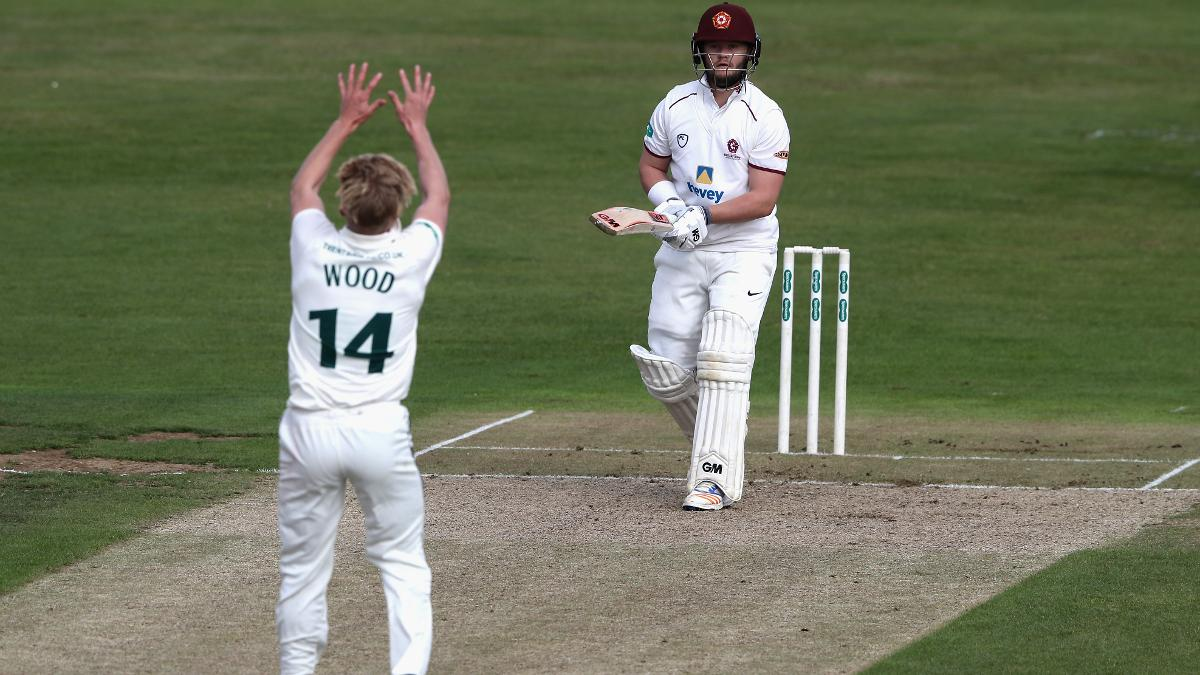 Ben Duckett caught and bowled by the in-form Luke Wood of Nottinghamshire