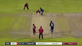 Bairstow hits Bishoo for four down the ground