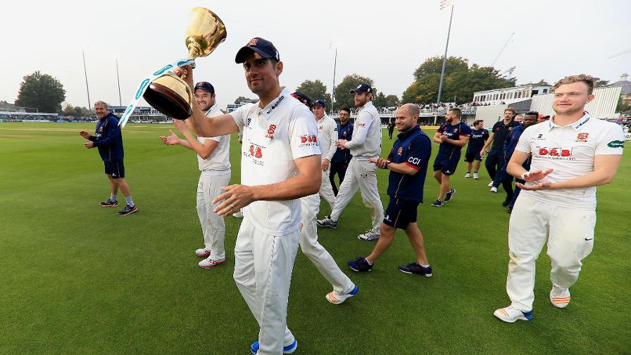 Alastair Cook with the Specsavers County Championship trophy