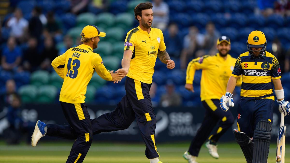 Reece Topley celebrates a wicket for Hampshire