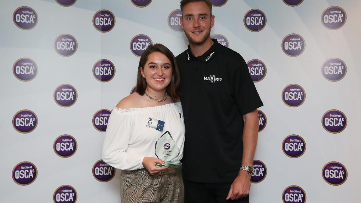England bowler Stuart Broad with Young Volunteer of the Year Megan Jones