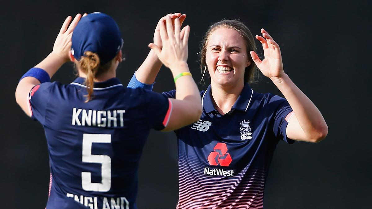 Nat Sciver celebrates with Heather Knight after removing Ashleigh Gardner