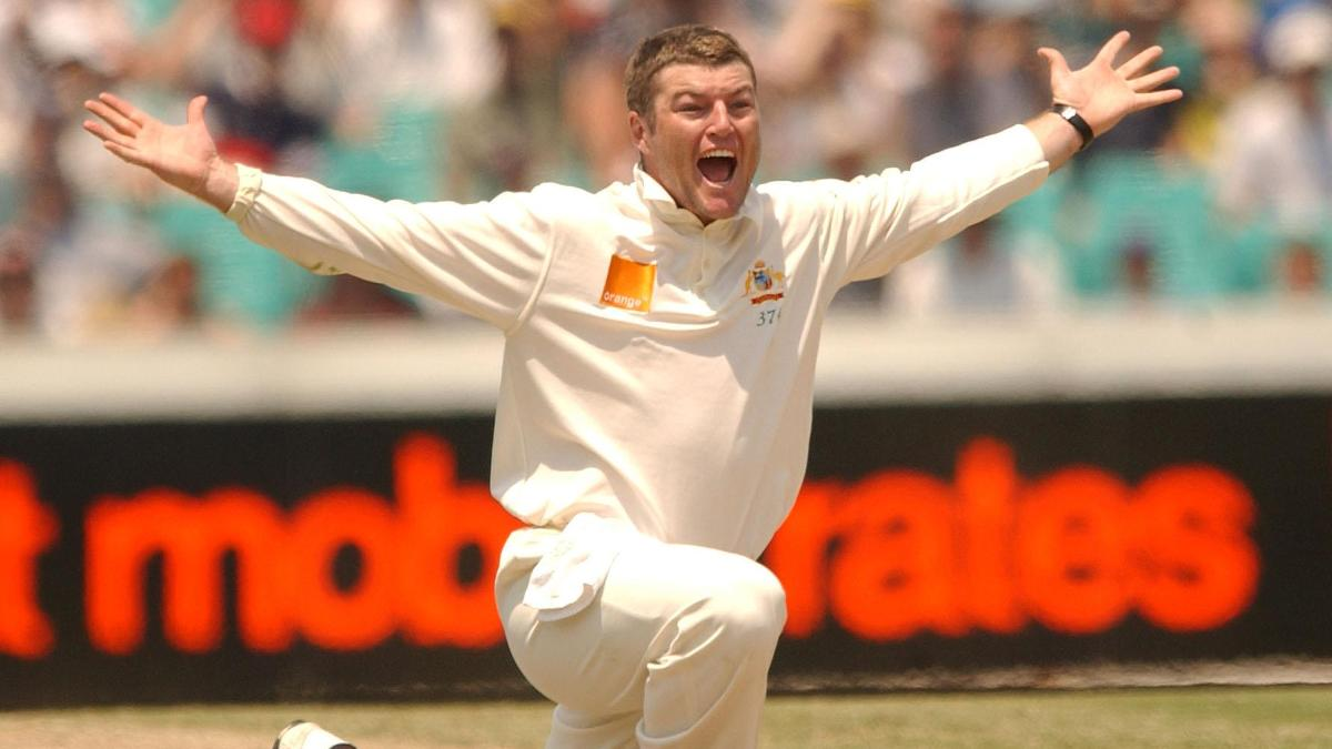 Stuart MacGill in test match action for Australia
