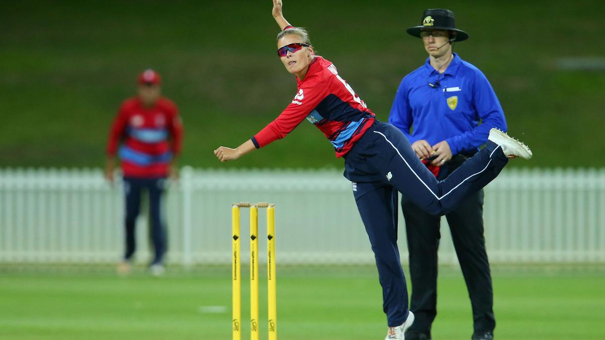 Alex Hartley in action against a Governor-General's XI – England might opt for more than two spinners for the first IT20