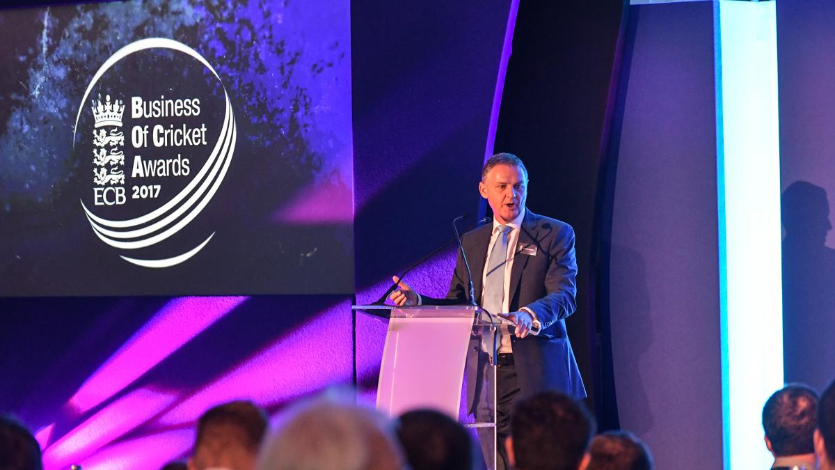ECB Chief Operating Officer Gordon Hollins addresses the Business of Cricket Awards