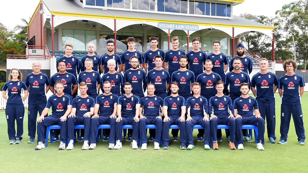 The England Lions pictured at the Allan Border Field in Brisbane