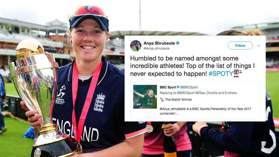 Anya Shrubsole was humbled to be announced as a nominee for Sports Personality of the Year 2017 after an incredible ICC Women's World Cup